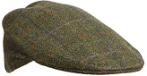 Olney Herringbone Check Wool Flat Cap, Green