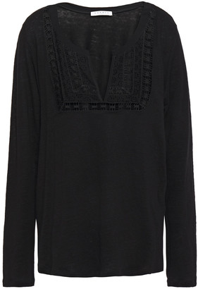 Sandro Broderie Anglaise-paneled Lattice-trimmed Linen-jersey Blouse