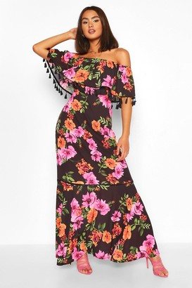 boohoo Floral Print Off The Shoulder Tassel Maxi Dress