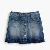 J.Crew Girls' button-front denim mini skirt