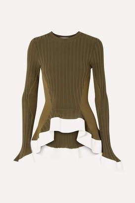 Esteban Cortazar Asymmetric Ribbed-knit Sweater - Army green