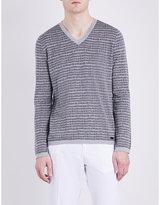 Armani Collezioni Silk and cotton-blend V-neck knitted jumper
