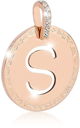 Rebecca Rose Gold-plated Bronze & Zirconia S Charm W/Rhodium-plated Necklace