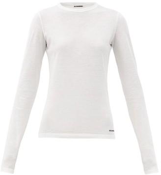 Jil Sander Logo-print Cotton-jersey Long-sleeved T-shirt - White