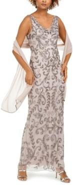J Kara Embellished Gown & Scarf