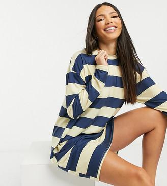 ASOS DESIGN Tall long-sleeved mini T-shirt dress in navy and buttermilk