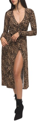 Good American Animal Print Long Sleeve Wrap Dress