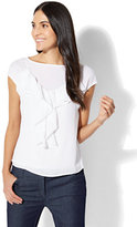 New York & Co. 7th Avenue - Ruffled Twofer Top - White
