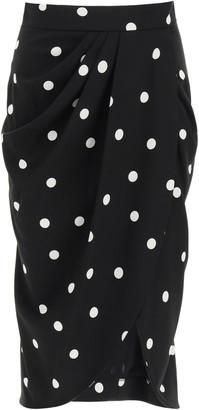 Dolce & Gabbana POLKA DOT MIDI SKIRT 44 Black, White