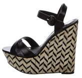 Alice + Olivia Leather Platform Wedge Sandals