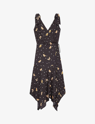 The Kooples Butterfly-print crepe wrap dress