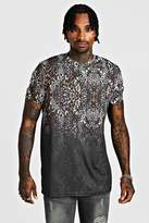 BoohoomanBoohooMAN Mens Black Longline Leopard Print Faded T-Shirt, Black