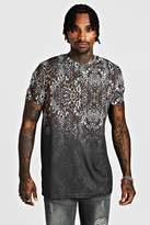 Longline Leopard Print Faded T-Shirt