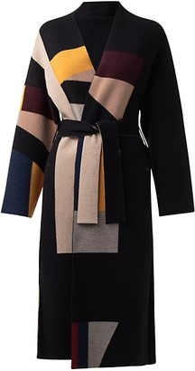 Akris Abstract Belted Knit Stretch-Cashmere Jacket