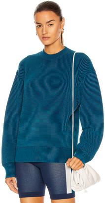 NAGNATA Sonny Crew Neck Sweater in Teal & Navy   FWRD
