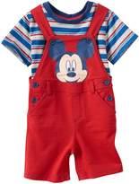 Disney Disney's Mickey Mouse Baby Boy Striped Tee & Graphic Shortalls Set