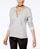 Ultra Flirt Juniors' Lace-Up French Terry Hoodie