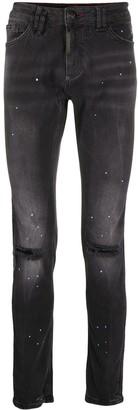 Philipp Plein Paint Splatter Skinny Jeans