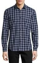 Theory Zack Saarland Plaid Sport Shirt, Navy