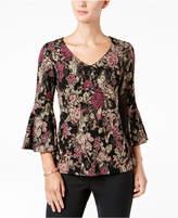 MSK Bell-Sleeve Floral-Print Top