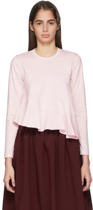 Comme des Garcons Pink Spiral Seams Long Sleeve T-Shirt
