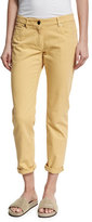 Brunello Cucinelli Garment-Dyed Cropped Jeans, Yellow