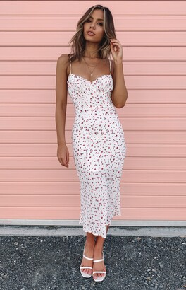Beginning Boutique Dory Midi Dress White Floral