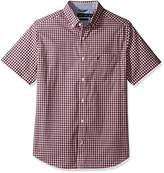 Nautica Men's Wrinkle Resistant Short Sleeve Plaid Button Down Shirt, Red