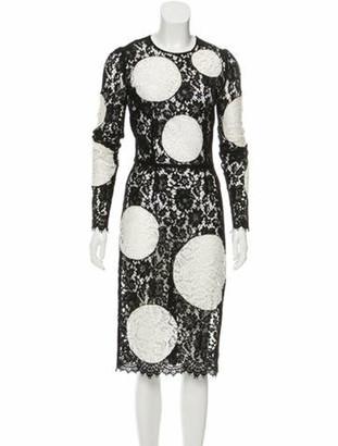 Dolce & Gabbana Lace Polka Dot Dress Black