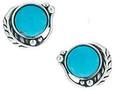 American West As Is Sterling Leaf & Turquoise Button Earrings
