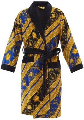 Versace I Love Baroque Printed Cotton Bathrobe - Blue Gold