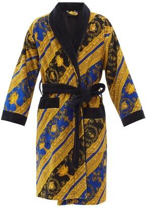 Versace I Love Baroque Printed Cotton Bathrobe - Blue Gold