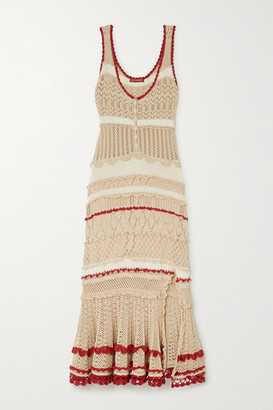 Altuzarra Herrick Striped Pointelle-knit Stretch-cotton Midi Dress - Beige