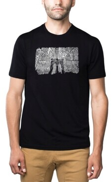 LA Pop Art Mens Premium Blend Word Art T-Shirt - Brooklyn Bridge