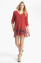 Free People 'Santa Rosa' Fringe Trim Hooded Sweater
