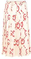 Gucci GucciGhost pleated printed silk skirt