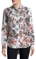 Lord & Taylor Plus Tiffany Floral Linen Button-Down Shirt
