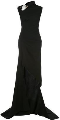 Monse Asymmetric Safety Pin Embellished Dress