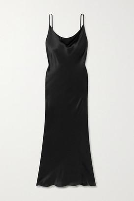 ENVELOPE1976 Diaz Open-back Satin Midi Dress - Black
