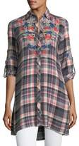 Tolani Cameron Plaid Embroidered Blouse