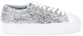 Chiara Ferragni Glitter Leather Platform Sneakers