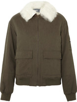 Yves Salomon Shearling-trimmed Cotton-twill Bomber Jacket - Army green