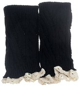 TOOPOOT® Women Crochet Knitted Lace Trim Boot Cuffs Leg Warmer Socks (Black)