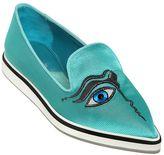 Nicholas Kirkwood 20mm Eye Embroidered Silk Loafers