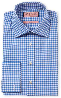 Thomas Pink Slim Fit Check French Cuff Dress Shirt