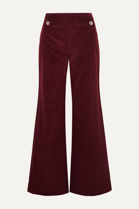 Temperley London Esmeralda Cotton-velvet Wide-leg Pants - Burgundy