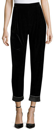 Armani Collezioni Velvet Cuffed Fashion Pants, Black