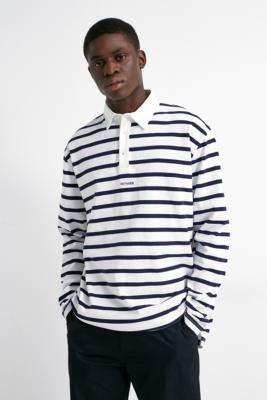 Band Of Outsiders Navy Stripe Long-Sleeve Polo Top - blue S at Urban Outfitters