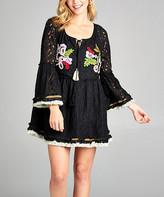 Simply Boho La Simply Boho LA Women's Casual Dresses black - Black Embroidered Lace Fringe-Hem Tunic - Women
