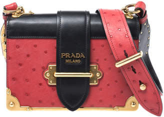 Prada Black/Red Leather and Ostrich Cahier Flap Shoulder Bag